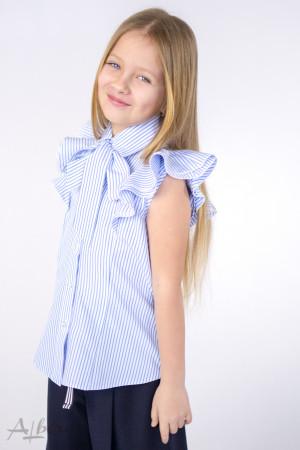 Блуза в голубую полоску с бантом Артикул:5064
