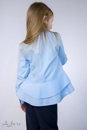 Блуза с двойной баской голубая Артикул:5074-B