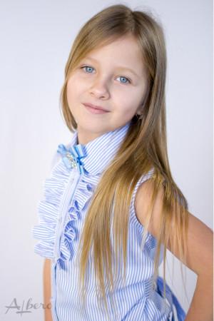 Блуза с брошью и поясом Артикул:5075