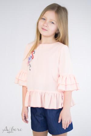 """Блуза с оборками и """"фламинго"""" Артикул:5077"""