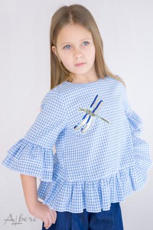 """Блуза в голубую клетку с оборками и """"стрекозой"""" Артикул:5086"""