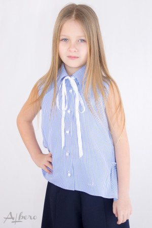 Блуза в голубую клетку с оборками на спинке Артикул:5087