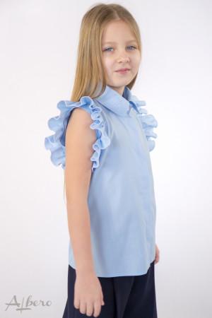 Блуза с оборками на рукавах голубая Артикул:5089-B