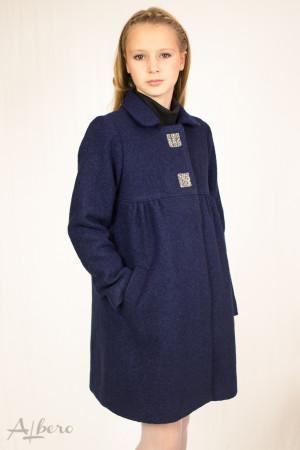 Пальто шерстяное с кокетками, меховым воротником и декоративными стразами Артикул:7008