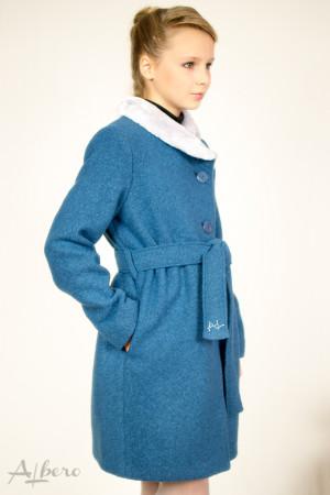 Пальто шерстяное под пояс с меховым воротником Артикул:7017
