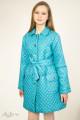 Пальто демисезонное бирюзовое на кнопках Артикул: 7020