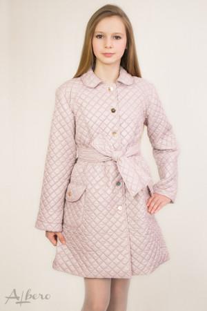 Пальто демисезонное песочно-розовое на кнопках Артикул: 7021